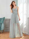 Classy V-Neck Tulle See-Through Evening Dresses-Grey 4