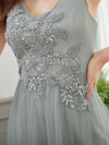 Classy V-Neck Tulle See-Through Evening Dresses-Grey 5
