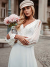Elegant Deep V Neck Appliqued Chiffon Wedding Dress With Hollow-Sleeves-White 2