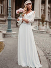 Elegant Deep V Neck Appliqued Chiffon Wedding Dress With Hollow-Sleeves-White 4