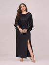 Women'S Sexy Round Neck Maxi Cocktail Dress With Sequin Wrap-Black 1