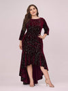 Elegant Plus Size Bodycon High-Low Velvet Party Dress-Burgundy 4