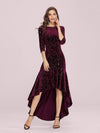 Elegant Plus Size Bodycon High-Low Velvet Party Dress-Burgundy 1