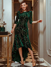 Elegant Plus Size Bodycon High-Low Velvet Party Dress-Dark Green 1