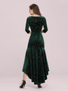 Elegant Plus Size Bodycon High-Low Velvet Party Dress-Dark Green 5