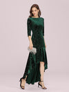 Elegant Plus Size Bodycon High-Low Velvet Party Dress-Dark Green 4