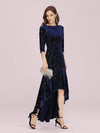 Elegant Plus Size Bodycon High-Low Velvet Party Dress-Navy Blue 1