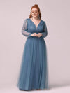 Elegant Plus Size Tulle Maxi Long Evening Dress with Sequin-Dusty Navy 4