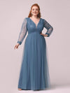 Elegant Plus Size Tulle Maxi Long Evening Dress with Sequin-Dusty Navy 1