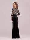 Sexy High Waist Velvet Straight Evening Dress With Lace Bodice-Black 2