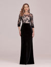 Sexy High Waist Velvet Straight Evening Dress With Lace Bodice-Black 1