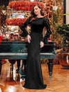 Women'S Elegant Long Sleeves Maxi Fishtail Evening Dress-Black 6