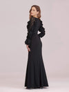Women'S Elegant Long Sleeves Maxi Fishtail Evening Dress-Black 2