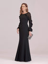 Women'S Elegant Long Sleeves Maxi Fishtail Evening Dress-Black 3