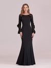 Women'S Elegant Long Sleeves Maxi Fishtail Evening Dress-Black 4