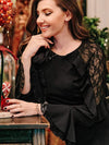 Women'S Elegant Long Sleeves Maxi Fishtail Evening Dress-Black 8