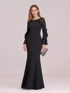 Women'S Elegant Long Sleeves Maxi Fishtail Evening Dress-Black 1