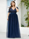Double V Neck Short Sleeves Evening Dresses With Sequin-Navy Blue 9