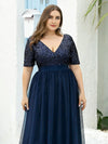 Plus Size V Neck Formal Tulle Evening Dresses With Sequin For Mom-Navy Blue 5