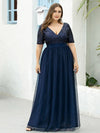 Plus Size V Neck Formal Tulle Evening Dresses With Sequin For Mom-Navy Blue 1