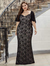 Elegant Floor Length V-Neck Chiffon And Lace Evening Dress-Black 6