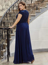 Classic Round Neck A-Line Plus Size Chiffon Prom Dress For Women-Navy Blue 2