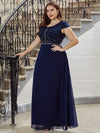 Classic Round Neck A-Line Plus Size Chiffon Prom Dress For Women-Navy Blue 3