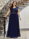 Classic Round Neck A-Line Plus Size Chiffon Prom Dress For Women-Navy Blue 4