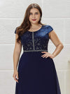 Classic Round Neck A-Line Plus Size Chiffon Prom Dress For Women-Navy Blue 5