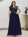Classic Round Neck A-Line Plus Size Chiffon Prom Dress For Women-Navy Blue 1