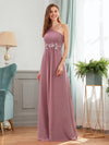 Elegant One Shoulder A-Line Evening Dresses With Applique-Purple Orchid 3