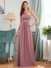 Elegant One Shoulder A-Line Evening Dresses With Applique-Purple Orchid 1