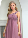 Cute One Shoulder A-Line Floor Length Bridesmaid Dress With Appliques-Purple Orchid 5