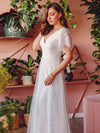 Elegant Simple Deep V Neck A-Line Lace & Tulle Wedding Dress-White 7