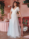 Elegant Simple Deep V Neck A-Line Lace & Tulle Wedding Dress-White 9