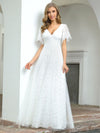 Elegant Simple Deep V Neck A-Line Lace & Tulle Wedding Dress-White 15