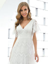 Elegant Simple Deep V Neck A-Line Lace & Tulle Wedding Dress-White 17