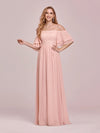 Sweet Off Shoulders Chiffon Bridesmaid Dresses With Lace Decoration-Pink 1