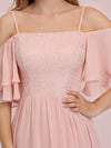 Sweet Off Shoulders Chiffon Bridesmaid Dresses With Lace Decoration-Pink 3