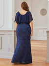 Classy Plus Size V Neck Chiffon & Lace Evening Dresses-Navy Blue 2