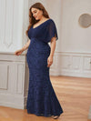 Classy Plus Size V Neck Chiffon & Lace Evening Dresses-Navy Blue 3