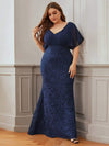 Classy Plus Size V Neck Chiffon & Lace Evening Dresses-Navy Blue 4