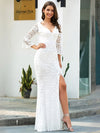 Women'S V-Neck Floral Lace Side Split Wedding Dress With Long Sleeves-Cream 1