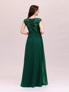 Classic Floral Lace V Neck Cap Sleeve Chiffon Evening Dress-Dark Green 2