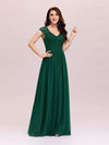 Classic Floral Lace V Neck Cap Sleeve Chiffon Evening Dress-Dark Green 3