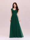 Classic Floral Lace V Neck Cap Sleeve Chiffon Evening Dress-Dark Green 1