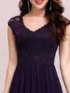 Classic Floral Lace V Neck Cap Sleeve Chiffon Evening Dress-Dark Purple 5