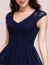 Classic Floral Lace V Neck Cap Sleeve Chiffon Evening Dress-Navy Blue 5