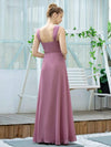 Simple A-Line Long Ruched Chiffon Bridesmaid Dresses-Purple Orchid 2