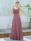 Simple A-Line Long Ruched Chiffon Bridesmaid Dresses-Purple Orchid 4